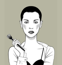 girl with with a makeup brush vector image