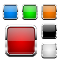 glass buttons shiny square colored 3d web icons vector image
