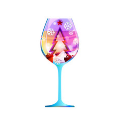 Glass new year with abstract modern purple vector