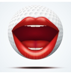 Golf ball with a talking female mouth vector