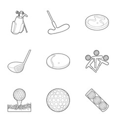 golf equipment icons set outline style vector image