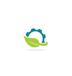Green leaf gear industry logo vector