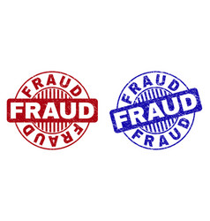 Grunge fraud scratched round watermarks vector