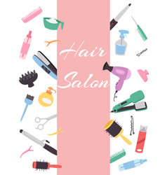 hairdresser banner with a set various combs a vector image