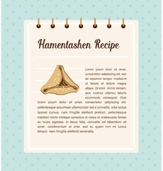 Hamantaschen recipe traitional food for Jewish vector