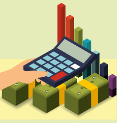 hand holding calculator banknotes and diagram vector image