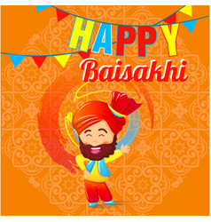 happy baisakhi man concept banner cartoon style vector image