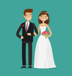 Happy newlyweds or bride and groom wedding vector