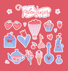 happy valentine day colorful isolated stickers set vector image