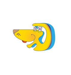 happy yellow cartoon dog sitting vector image