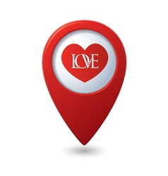 Heart icon with love on the red map pointer vector
