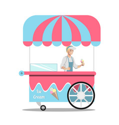 Ice cream kiosk summer trolley market vector