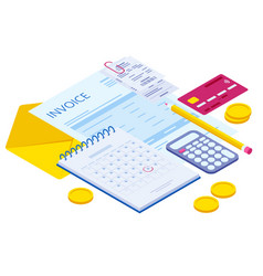 Isometric pay bills online concept modern vector
