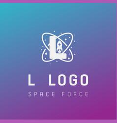 L initial space force logo design galaxy rocket vector