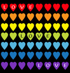 love text rainbow heart set gay flag color vector image