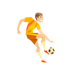 Male soccer player sportsman character kicking a vector