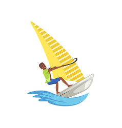 Man on sailing boat yacht racing water sport vector