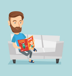 man reading magazine on sofa vector image