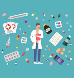 Medicine pharmacy hospital set medicines in vector