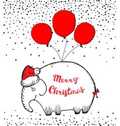 merry christmas with hand drawn vector image