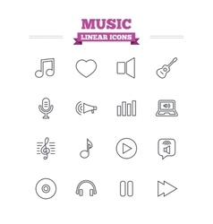 Music linear icons set Thin outline signs vector image
