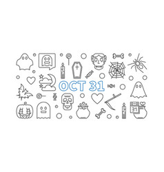 oct 31 holiday outline halloween vector image