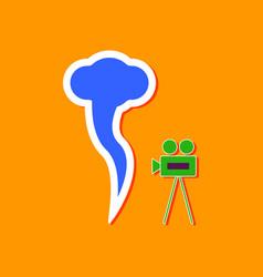 Paper sticker on stylish background tornado camera vector
