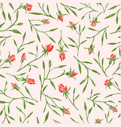 Pattern roses twigs vector