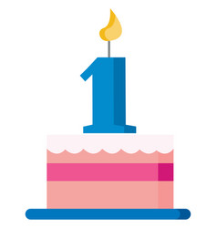 Pink cake to celebrate first birthday or color vector