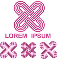 Pink company logo design template set vector
