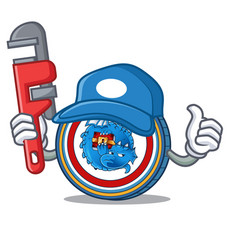 Plumber dragonchain coin mascot cartoon vector