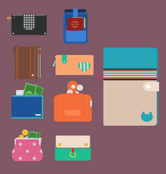 purse wallet money shopping buy business vector image