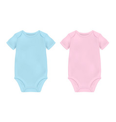 Realistic blue and pink blank baby bodysuit vector