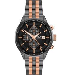 Realistic watch clock chronograph grey copper vector