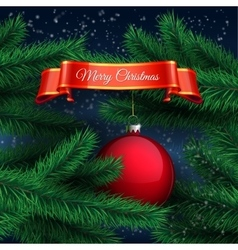 Red ball and Christmas tree vector image