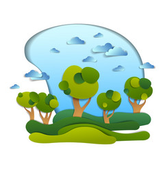Scenic landscape of meadows and trees cloudy sky vector