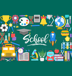school iconspaper cut cartoon education supplies vector image
