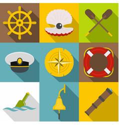 sea adventure icons set flat style vector image