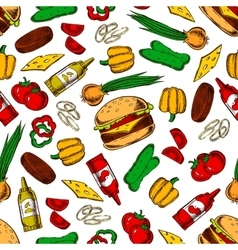 Seamless cheeseburgers with ingredients pattern vector image