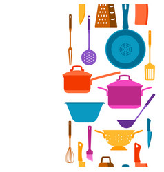 Seamless pattern with kitchen utensils vector