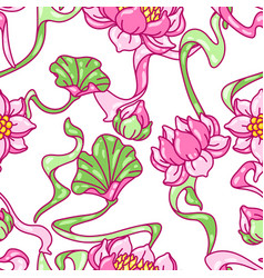 Seamless pattern with lotus flowers art nouveau vector