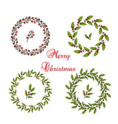 set christmas holly wreath vector image
