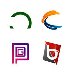 set initial letter c pgd b half circle symbol vector image