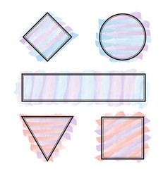 set of frames different shapes with pastel colors vector image