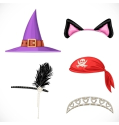 Set of hats for the carnival costumes - Witch hat vector