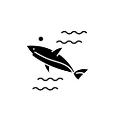 shark black icon sign on isolated vector image