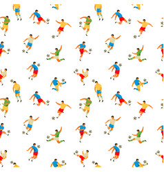 soccer players seamless pattern vector image