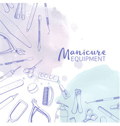 Square banner with different manicure tools drawn vector