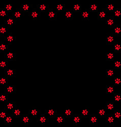 Square frame made of red animal paw prints on vector