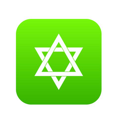 Star of david icon digital green vector